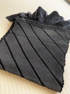 総絞り 黒色斜め縞 兵児帯