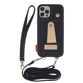 iPhone12 ケース 岡山デニム iPhone12 pro iPhone12 mini 肩掛け ストラップ付き 本革 リング 斜めかけ 首かけ スタンド カードホルダー リング