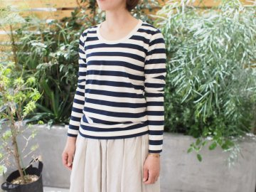ballerina pink 30/2 jersey  ボーダー・長袖【ivory×navy】