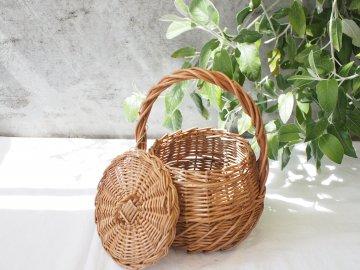 三つ編み模様バスケット【まる・蓋付き】