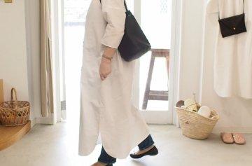 Emouvoir シンプルロングワンピース  【7分丈・white】