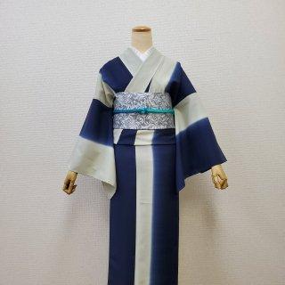 タテボカシ・ディープネイビー春夏着物(衿・アイボリー)