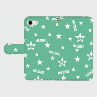 MR.HUGE  RANDOM STAR & LOGO 手帳型 Android PhoneCASE ブラック