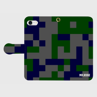 MR.HUGE DEGITAL CAMOFLAGE(デジタル 迷彩) PRINTED  手帳型 iPhoneCASE