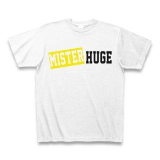 MR.HUGE MISTER&HUGE BOX LOGO (ボックスロゴ) PRINTED Tシャツ ホワイト×イエロー/ブラック