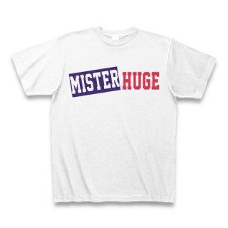 MR.HUGE MISTER&HUGE BOX LOGO (ボックスロゴ) PRINTED Tシャツ ホワイト×ネイビー/レッド