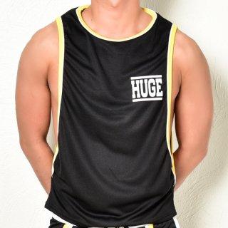 huge HUGE LOGO PIPING SIDE CUT  TANTOP(HUGE ロゴ パイピング サイドカット タンクトップ)ブラック