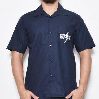 MR.HUGE INAZUMA PRINTED  OPEN COLLAR SHIRTS(イナズマ プリント オープン カラーシャツ )ネイビー