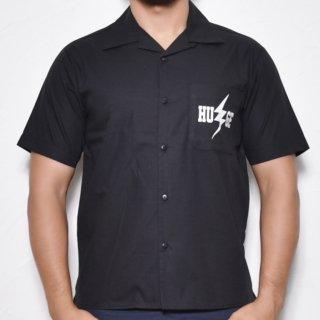 MR.HUGE INAZUMA PRINTED  OPEN COLLAR SHIRTS(イナズマ プリント オープン カラーシャツ )ブラック