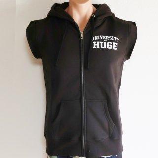 MR.HUGE LOGO CUT OFF  ZIP HARF SLEEVE SWEAT(ロゴ カットオフ ジップ ハーフ スリーブ スエット)ブラック