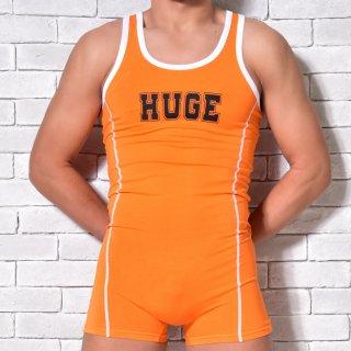 huge HUGE ROGO PRINTED OPEN HIP SHORT ALL IN ONE(ヒュージ ロゴ プリント オープン ヒップ ショート オールインワン)オレンジ