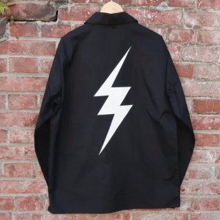 MR.HUGE INAZUMA PRINTED OPEN COLLAR LONG SHIRTS(イナズマ プリント オープン カラーロングシャツ )ブラック