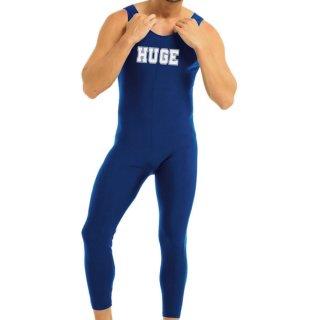 huge STRETCH NOSLEEVE ROGO PRINTED JUMPSUIT(ストレッチ ノースリーブ ロゴ プリント ジャンプスーツ)ブルー