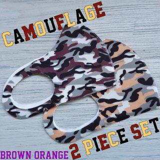 【即納】SELECT camouflage seamless MASK 2pieceSET(カモフラージュ シームレス マスク 2色セット)ブラウン&オレンジ