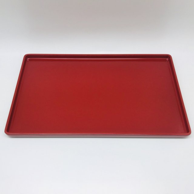 隅丸長角盆 中 赤
