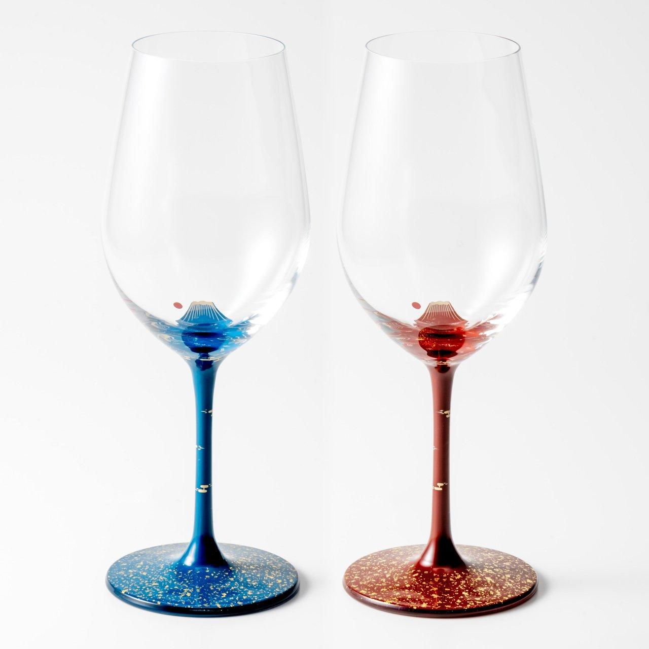 漆絵ワイングラス 富士・赤富士セット