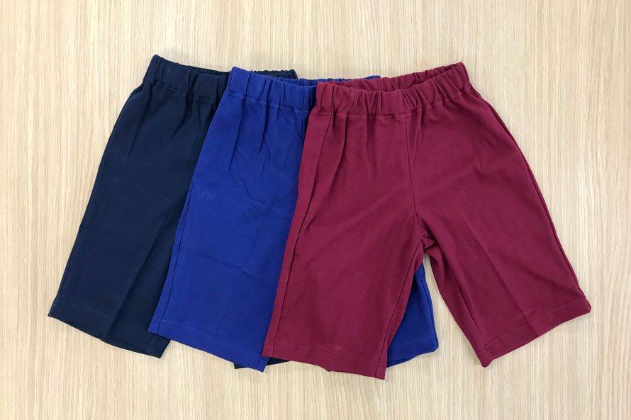 敏感肌向け 日本製 綿100% 体操服 ズボン パンツ ハーフ丈 (濃紺/エンジ/花紺)[素材]綿100%||