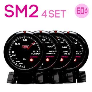 Autogauge オートゲージ<br>SM2 430シリーズ 60mm<br>4連メーターセット<br>ブースト計・水温計・油温計・油圧計