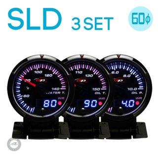 Deporacing デポレーシング<br>SLDシリーズ 60mm<br>3連メーターセット<br>水温計・油温計・油圧計