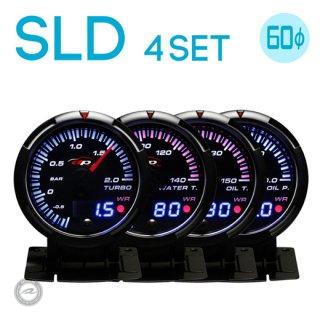 Deporacing デポレーシング<br>SLDシリーズ 60mm<br>4連メーターセット<br>ブースト計・水温計・油温計・油圧計