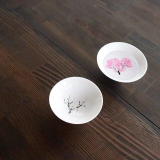 丸モ高木陶器 冷感桜 白盃ペアセット