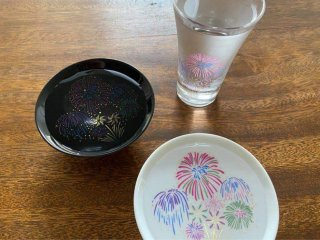 丸モ高木陶器 冷感花火 盃 白・黒セット