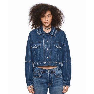 DUA LIPA X PEPE JEANS - Cropped Fray Denim Jacket