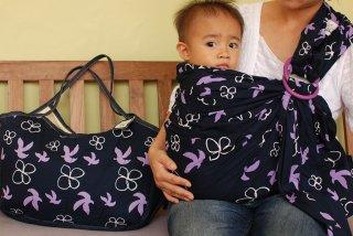 SL-BBB 鳥と花(紺)スリング&大きいバッグ