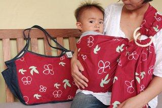 SL-DMBM 鳥と花(朱)スリング&大きいバッグ