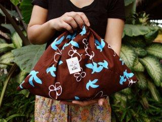 【オリジナルバティック鳥と花3色】あづま袋 定番サイズ