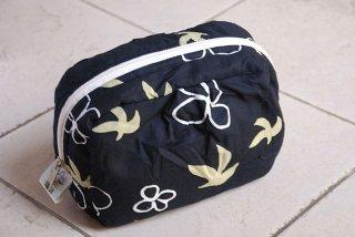 PO-DMBB 鳥と花(黒)ポーチ(大)