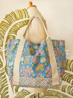 珊瑚(ブルー)裾柄あり キャンバスバッグ定番サイズ