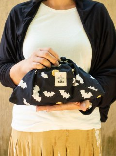 バティックコウモリ(ブラック)あづま袋 ミニサイズ
