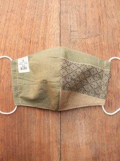 【ご予約商品:お届けは2月6日(土)前後の予定です】耳に優しいタイプのゴムを使った草木染め布のマスク(男女兼用Mサイズ) M-MSK-TRM-GR-02