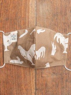 【ご予約商品:お届けは5月15日(土)以降の予定です】草木染めバティックの布マスク『にわとり』(男女兼用Lサイズ) L-MSK-WAB-04