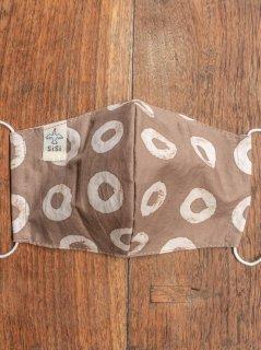 【ご予約商品:お届けは5月15日(土)以降の予定です】草木染めバティックの布マスク『ドーナツ』(男女兼用Lサイズ) L-MSK-WAB-05