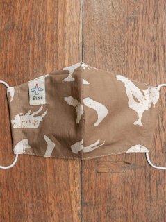 【ご予約商品:お届けは11月4日(木)以降の予定です】草木染めバティックの布マスク『にわとり』(男女兼用Mサイズ) M-MSK-WAB-04