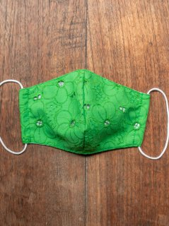 【ご予約商品:お届けは5月15日(土)以降の予定です】布マスク(男女兼用Mサイズ)花柄刺繍(緑)