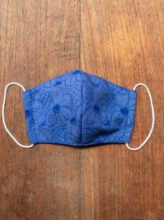 【ご予約商品:お届けは5月15日(土)以降の予定です】布マスク(男女兼用Mサイズ)花柄刺繍(青)