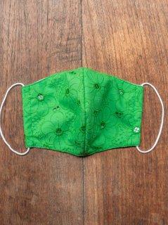 【ご予約商品:お届けは5月15日(土)以降の予定です】布マスク(男女兼用Lサイズ)花柄刺繍(緑)