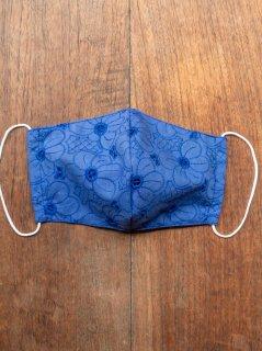 【ご予約商品:お届けは5月15日(土)以降の予定です】布マスク(男女兼用Lサイズ)花柄刺繍(青)