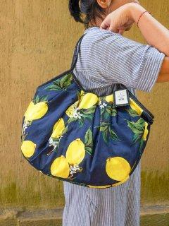 【ご予約商品:お届けは7月15日(木)以降の予定です】レモン柄(ネイビー)sisiグラニーバッグ120%ビッグサイズ