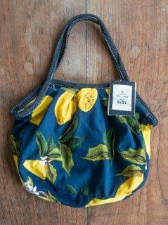 【ご予約商品:お届けは7月15日(木)以降の予定です】レモン柄(ネイビー)ミニグラニーバッグ
