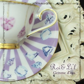転写紙 『Gemme d' eau - ブルーパープル 水の宝石』 白磁 陶芸 焼成用 A4サイズ【Roi&Li'l】ポーセリンアート