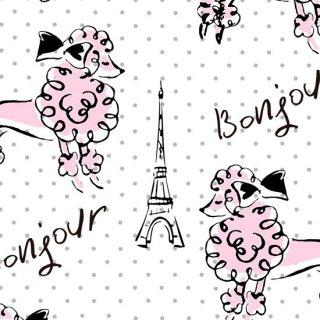 転写紙 『Bonjour Poodle/ボンジュール プードル』 白磁 陶芸 焼成用 A3サイズ【Roi&Li'l】ポーセリンアート