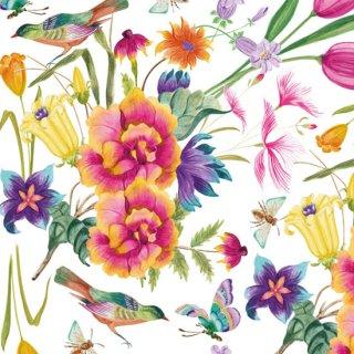 転写紙 『Summer Bloom サマーブルーム』 白磁 陶芸 焼成用 A4サイズ【Roi&Li'l】ポーセリンアート