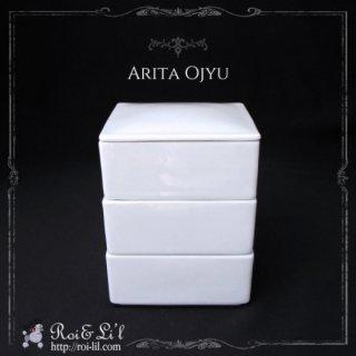 白磁『有田焼 お重三段 スクエアA級品』【Roi&Li'l】ポーセリンアート