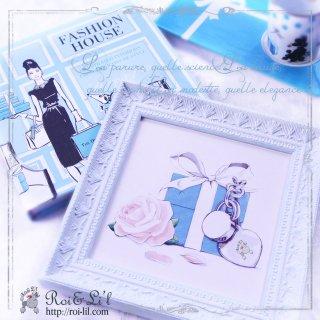 15cmタイル専用フレーム『シャビーシックアイスブルー』【Roi&Li'l】ポーセリンアート