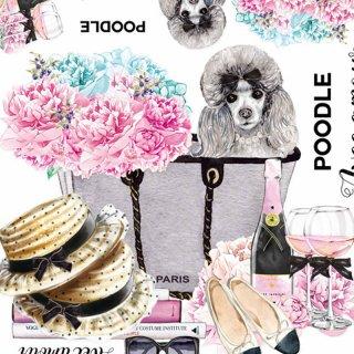 インテリアタイルアート転写紙『Fortune Poodle C.bag』A4