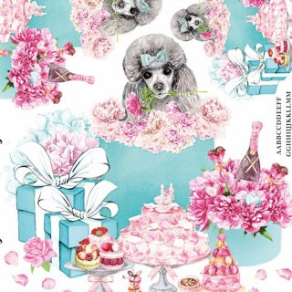 インテリアタイルアート転写紙『Fortune Poodle T.wedding』A4